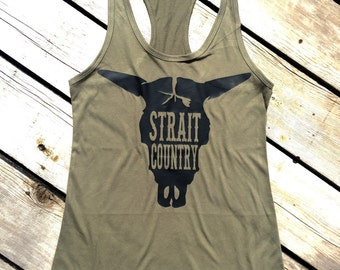 Strait Country Tank Top, Women's Country Lifestyle Apparel Music Festival Tank T-Shirt Southern Clothing, Country Sayings Shirt