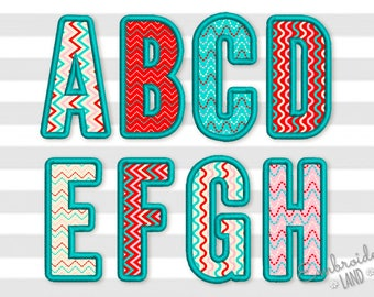 Narrow Applique Alphabet #2 Font Machine Embroidery Design 4 sizes AL042
