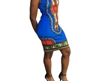 Dashiki bodycon dress -mini