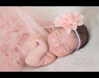 Blush pink tutu with matching flower on headband