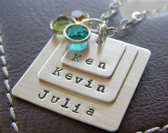 Personalized Square Charm Layering Necklace - Hand Stamped Sterling Silver - Three Layered Charm Necklace, Optional Birthstones or Pearls