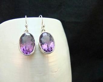 Top Quality Amethyst Gemstone Sterling Silver Earrings