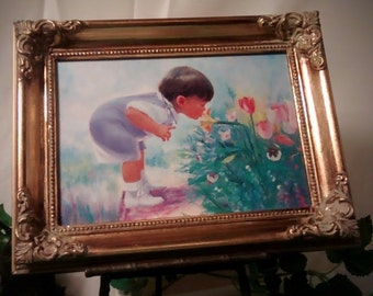 Easter Morning by Donald Zolan, framed canvas transfer, limited edition 1994, Little boy smelling flowers on Easter morning