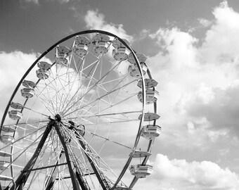Ferris Wheel 5x5 Signed Print Black and white Carnival art