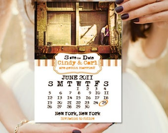Save the Date with Wedding Month Calendar