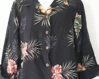 Vintage hawaain shirt, 3/4 sleeve hawaain shirt