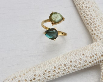 Labradorite adjustable ring, 2 stone ring, gift for mom, gift under 80, teardrop ring- statement ring,gemstone ring,indez ring,cocktail ring
