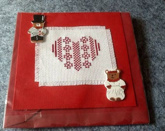 Embroidered heart and figurines married wedding card