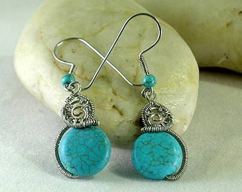 Turquoise Coiled Spiral - Wire Wrapped Earrings - Aztec - Native American
