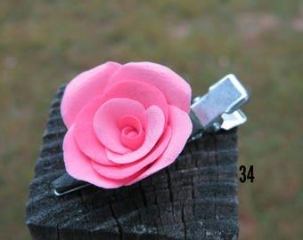 Pink rose hair clip