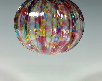 Hand Blown Glass Ornament:  Pink Mix Sphere With Vertical Ribs