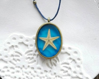 Real Starfish necklace starfish pendant mermaid blue seaside necklace July birthday Summer wedding Nautical gift for her Summer pendant cord