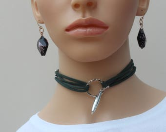 Women's Wrap Around Two Way Choker |Green Flat Faux Suede Cord