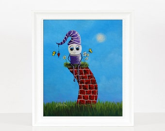 Humpty Dumpty - Art For Boys or Girl's Room - Cute Art - Story Prints - Happy and Bright - Fantasy Fairytale Stories - Decor Ideas - 8x10