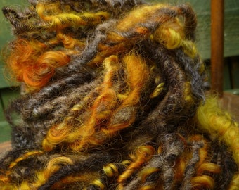 Handspun Art Yarn, Chunky Bulky Yarn, Curly yarn, Hand-dyed Yarn, Thick & Thin yarn, BUMBLE