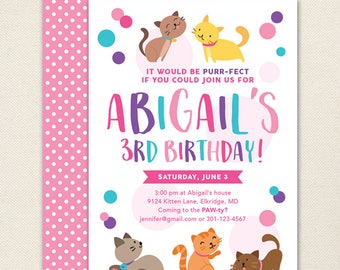 Kitty Cat Party Invitations / Kitten Party Invitations - Professionally printed *or* DIY printable