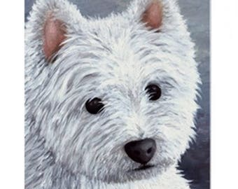 Fridge Magnet Print ACEO from my original painting Dog 137 white Westie by Lucie Dumas