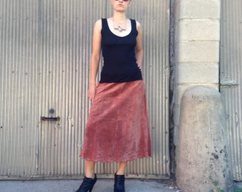 Vintage Leather Boho Skirt