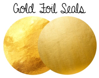 10 Gold Foil Seals ~ Shiney & Matt Foil Sticker Seals ~ Gold Bag Seals - Gold Envelope Seals ~