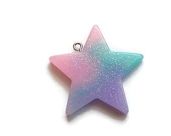 Glitter Star Resin Pendant Pink Purple Blue/Teal  39mm x 37mm  (1)