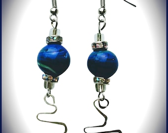 I've Got the Blues-Lampwork beads with shades of blue and green swirls