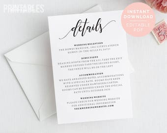 Wedding Details Etsy - Free wedding accommodation card template