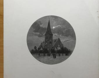 Old Lithograph of Church in Ballarat Victoria, Australia by W C Fitler
