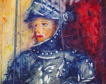 Painting, painting, painting on canvas, pupo siciliano, Orlando innamorato, acrylic on cardboard.