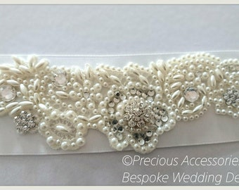 Bridal Belt - Ivory Pearl and Diamante Crystal belt - Wedding Belt - Crystal Bridal Belt, Bridal Accessories