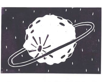 Lovely Planet Greeting Card SUPPORTS CHARITY 5x7 Handmade Linocut Artwork