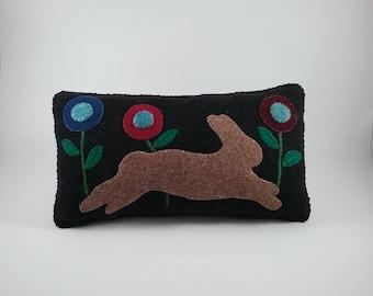 Prim Rabbit pillow/wool fabric/ hand stitched