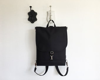 Vegan Black Backpack, Waterproof Functional Bag, Rucksack