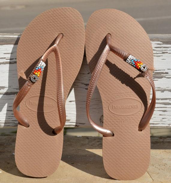 Flops Sandals Sandals Sandals Beaded Beach Flip Flip Women's Beach Havaianas Flip Boho Hippie Flops Decorated Flops Vegan Flops Flip S5FxRq