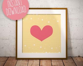 Heart Print, Cute Heart Print, Nursery Art, Nursery Prints, Nursery Wall Art, Printable Art, Nursery Poster, Kids Room Poster, Nursery Decor