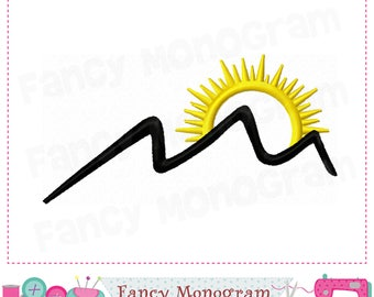 Sun and Mountain embroidery.Mountain applique,Embroidery Machine.