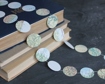 Map Garland, Atlas Garland, Map Bunting, Travel Theme, Map Decorations, Paper Garland, Made to Order - 10 feet long each