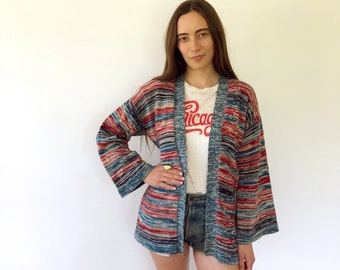 Pacific Beach Cardigan // vintage 70s knit boho hippie hipster dress blouse space dye hippy sweater 1970s tunic blue // O/S