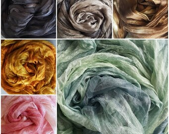 Hand dyed Margilan silk from Uzbekistan, for Felting, Nunofilzen, price per metre, width 90 cm