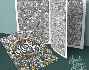Art Therapy - Printable Adult Coloring Book   Downloadable PDF   20 coloring pages for adults with bold lines and intricate patterns