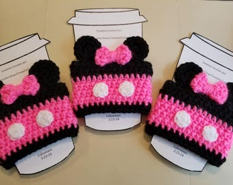 Handmade Disney Minnie Mouse Crochet Coffee Cup Cozy; fish extender