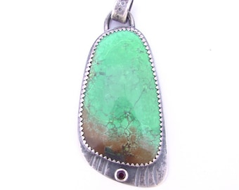 Large Statement Green Turquoise and Garnet Pendant Artisan Jewelry Handcrafted Bold Pendant