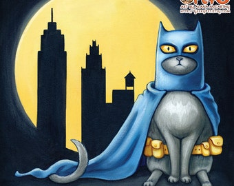 Batcat - 8x8 art print - superhero cat dressed like batman wearing his utility belt in front of a full moon and city line