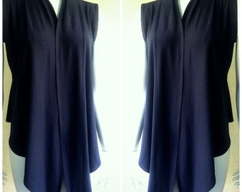 Sleeveless cardigan wrap, organic cotton women's shirt
