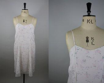 1950s Rayon Slip / 50s Floral Nightgown / Corded Lace Hem / Munsingwear Vintage / Size Large / L XL