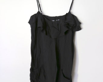 Vintage 1990s Black Ruffle Tank Dress with Pocket and Frill Detailing