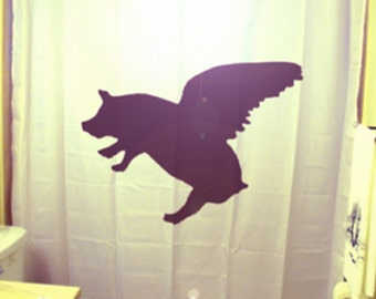 Flying Pig Shower Curtain, When Pigs Fly bathroom decor, extra long custom fabric colors