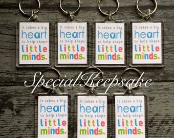 Personalised Teacher End Of Term Appreciation Thank You Double Sided Keyring Gift Nursery Preschool Primary Big Heart