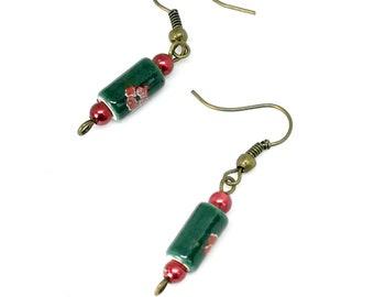 Green Ceramic tube earrings