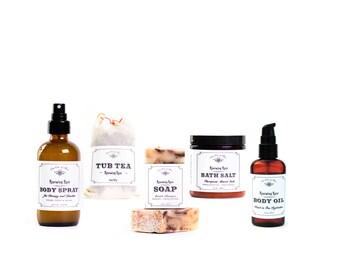 Rose Gift Set - Rose Body Oil, Bar Soap, Tub Tea, Bath Salt, Rose Spray / floral gift for her