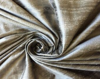 Gray grey 100% Dupioni Silk Fabric Wholesale Roll/ Bolt
